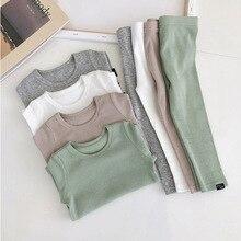 Nowe prążkowane dopasowane piżamy dla dziewczynki piżamy dziecięce chłopięce ubrania dla dzieci jesień zima maluch zestaw miękki wygodny długi rękaw