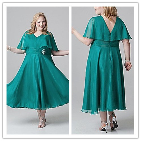 Newest tea length mother of the bride dresses plus size for Plus size midi dresses for weddings