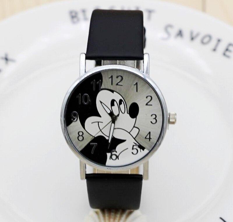 Мультфильм кварцевые наручные часы Дети Лидер продаж кожа часы Микки модные повседневные ...