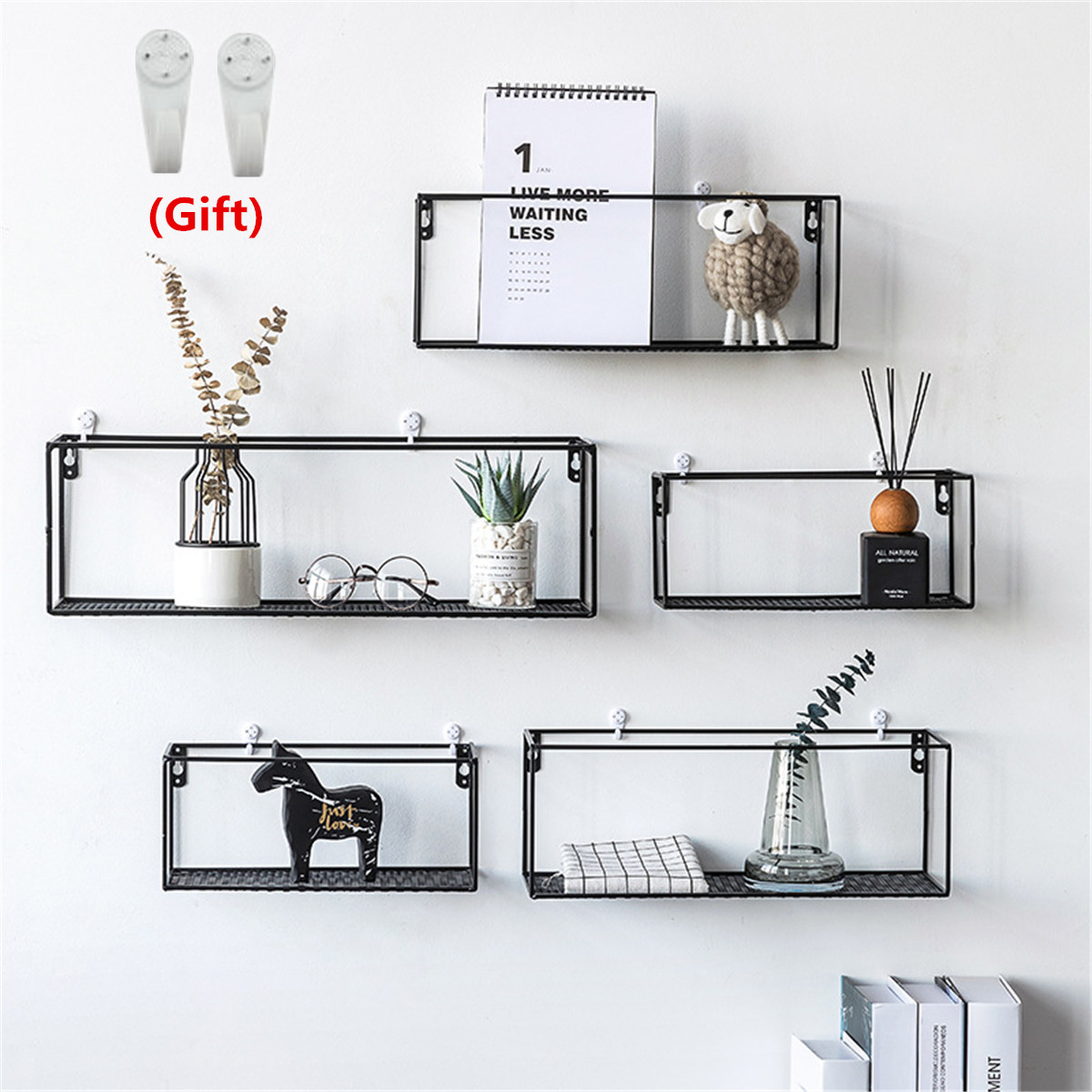 US $10.54 52% OFF|Iron Wall Shelf Wall Mounted Storage Rack Organization  For Kitchen Bedroom Home Decor Kid Room DIY Wall Decoration Holder-in ...