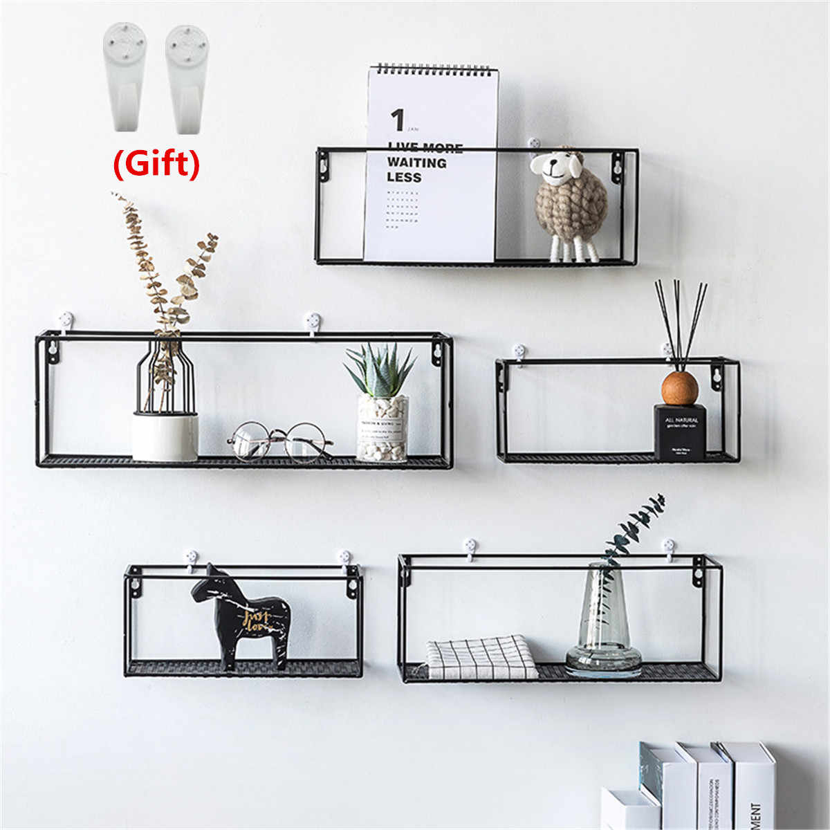 Iron Wall Shelf Wall Mounted Storage Rack Organization For Kitchen Bedroom Home Decor Kid Room Diy Wall Decoration Holder
