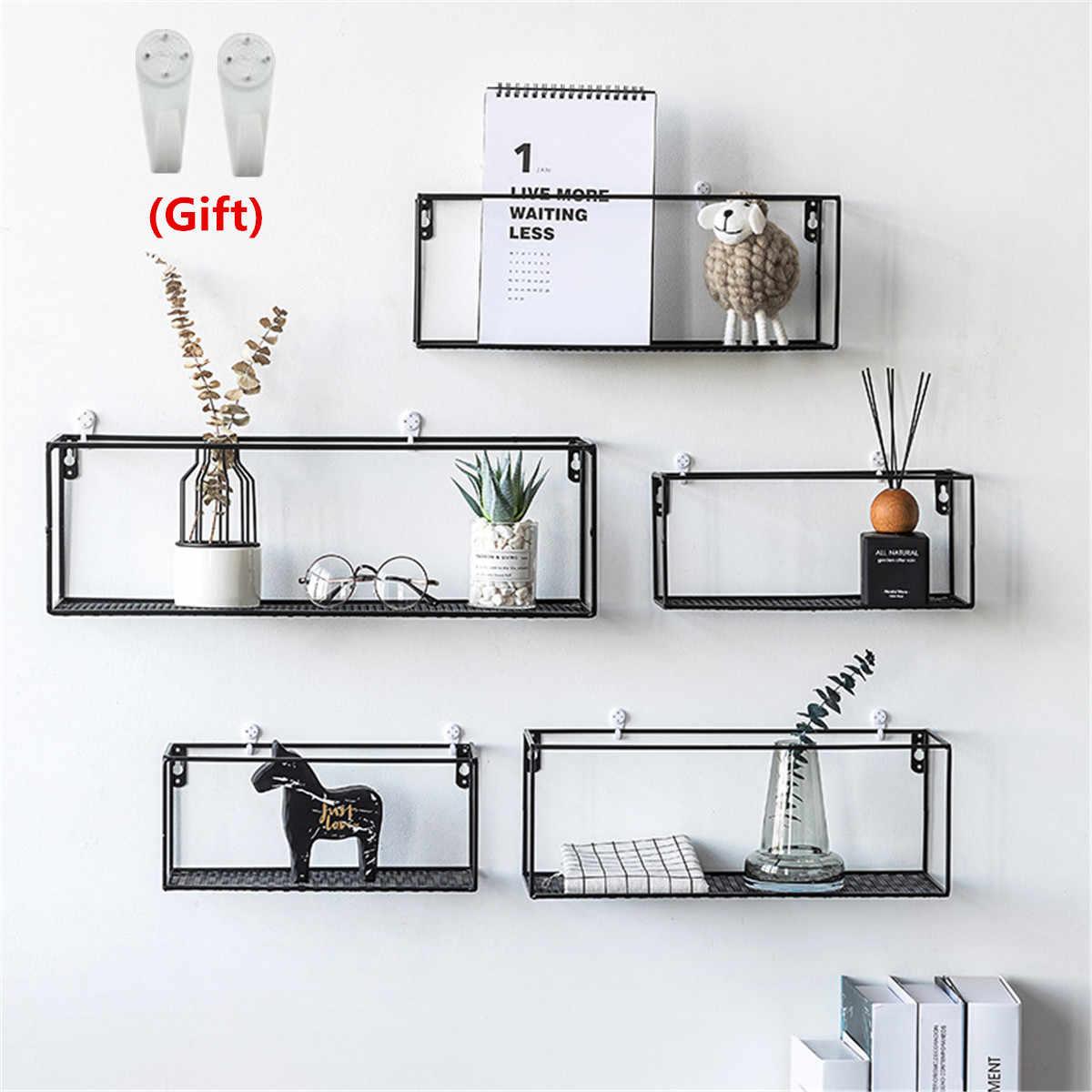 Iron Wall Shelf Wall Mounted Storage Rack Organization For Kitchen Bedroom Home Decor Kid Room Diy Wall Decoration Holder