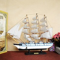 Wooden sailboat ornaments, business ornaments, smooth sailing, W5001 white blue line home decoration accessories modern