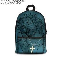 ELVISWORDS Jesus Canvas Travel Backpack Women Luxury Brand 3d Print Shoulder Bag Back Packs Punk Mochila