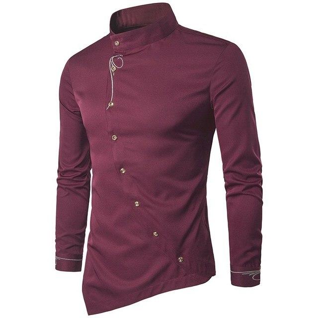 6da92b064 2018 Men Shirts Luxury Cotton Shirt Irregular Suit Stylish Dress Shirts Long  Sleeve Tops Embroidery Male Clothings Plus Size 2XL