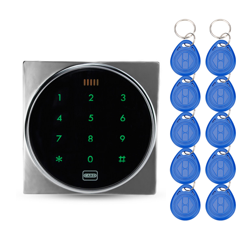 Standalone access control with touch screen metal keypad button 125KHz RFID card reader with keys for door access control system diysecur metal case touch button 125khz rfid card reader door access controller system password keypad c20
