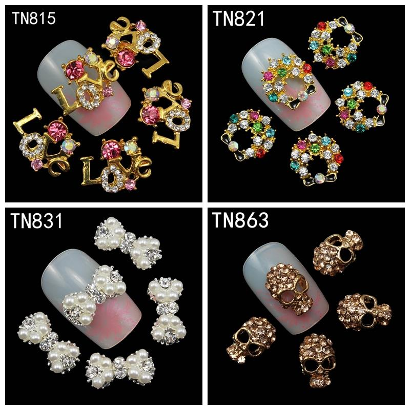 letters Love,garland ,bow ,skull 10pcs/pack Rhinestones Nails Studs With Pearl 3d Nail Art Decorations Glitters Nail Tools