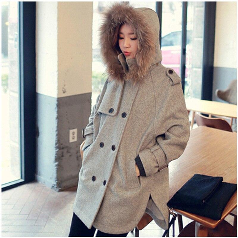 Plus Size Winter Jacket Women Casaco Feminino Hoody Fur Collar Woolen Coats Winter Coat Women Long Wool Coat Jacket Female C2637