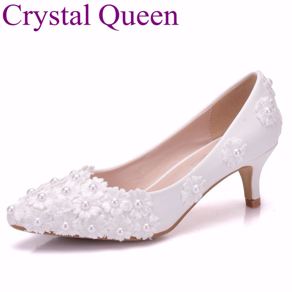 Crystal Queen White Lace Flower Wedding Shoes 5cm Heel
