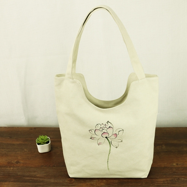 Chinese Painting Series Women Canvas Shoulder Tote Bag Flower Hand
