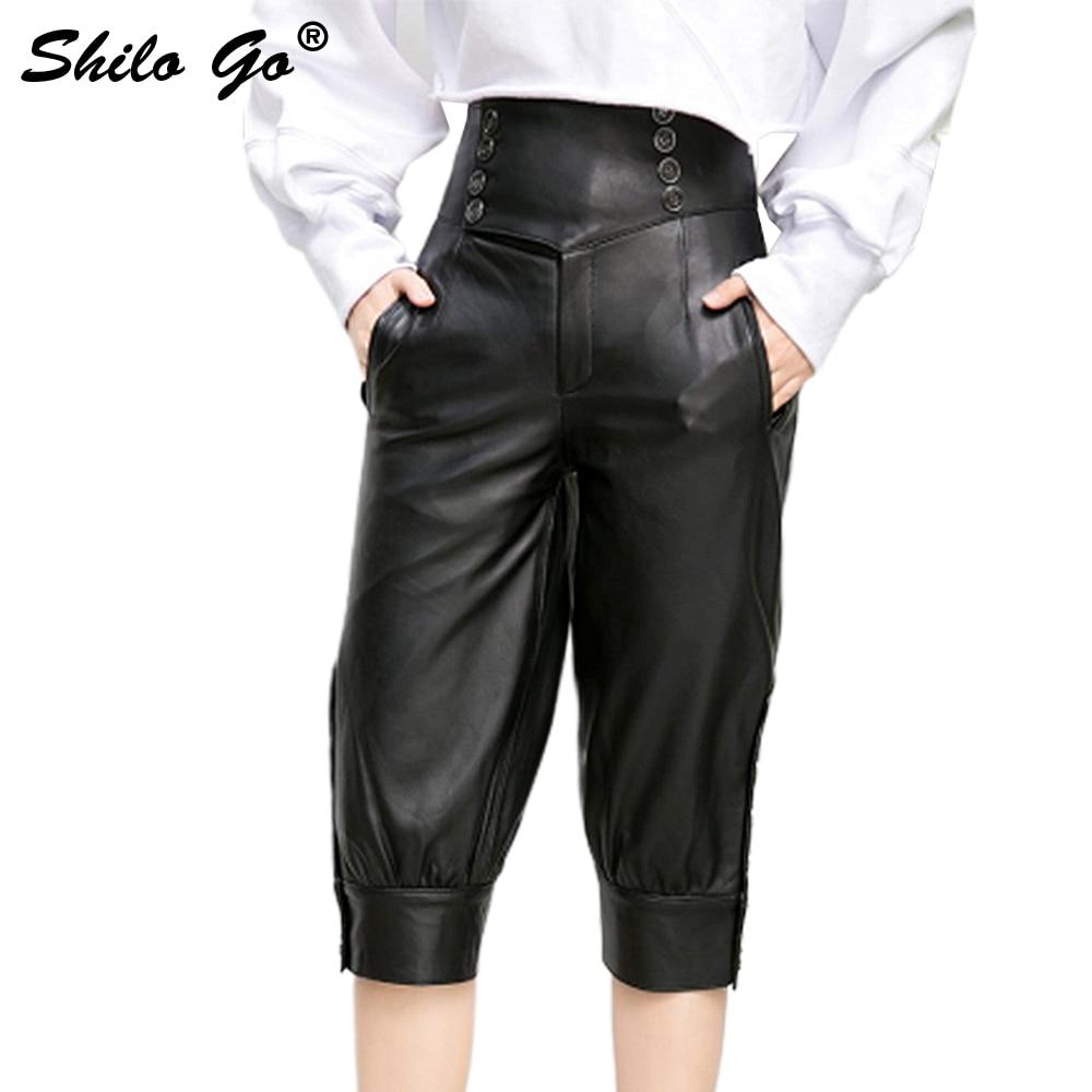 Leather Harem Pants Women Summer Streetwear Sheepskin Genuine Leather Pants Black Casual Knee Lenght Pants