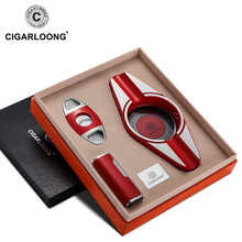 Cigar Ashtray 3 pieces set Portable Windproof Lighter with Double-edge Sharpness Cutter and CQ-0127