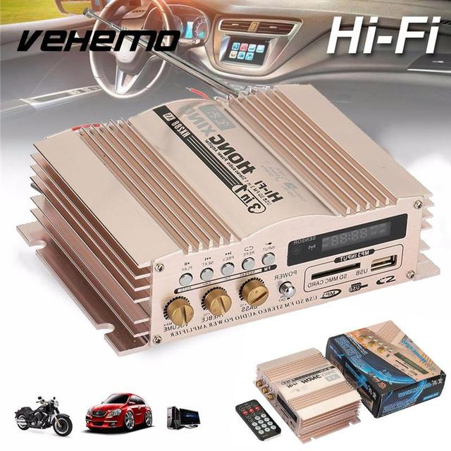 Best Price Vehemo Audio Amplifier Car Amplifier Power Amplifier 600W Stereo Rose Gold Universal Music USB MMC
