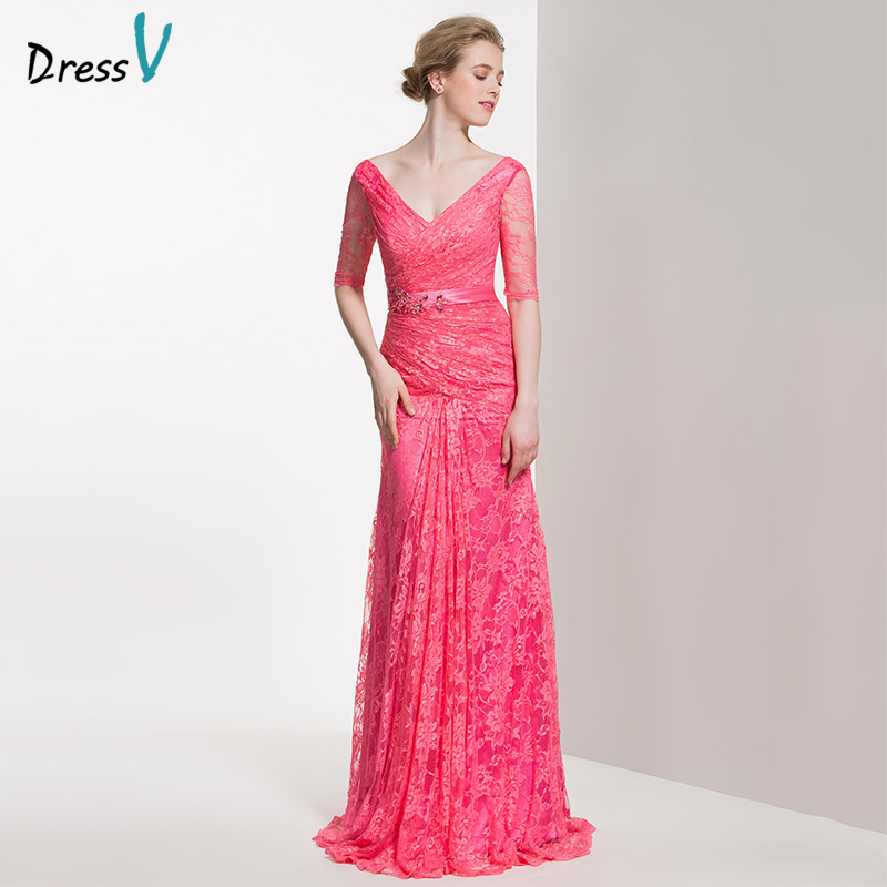 Dressv Long Bridesmaid Dress V Neck Half Sleeves Sheath Lace Beading Pleats Sweep Custom Wedding Party