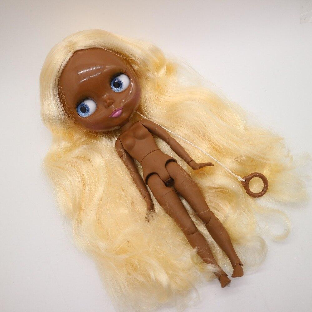 Conjunto cuerpo desnudo blyth muñeca super negro piel fábrica muñeca de moda adecuado para DIY 1213-in Muñecas from Juguetes y pasatiempos    1