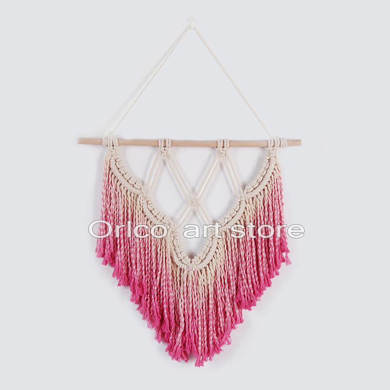Handmade hanging wall art tapestry weaving Pink bohemian home wedding decor Macrame Cott ...
