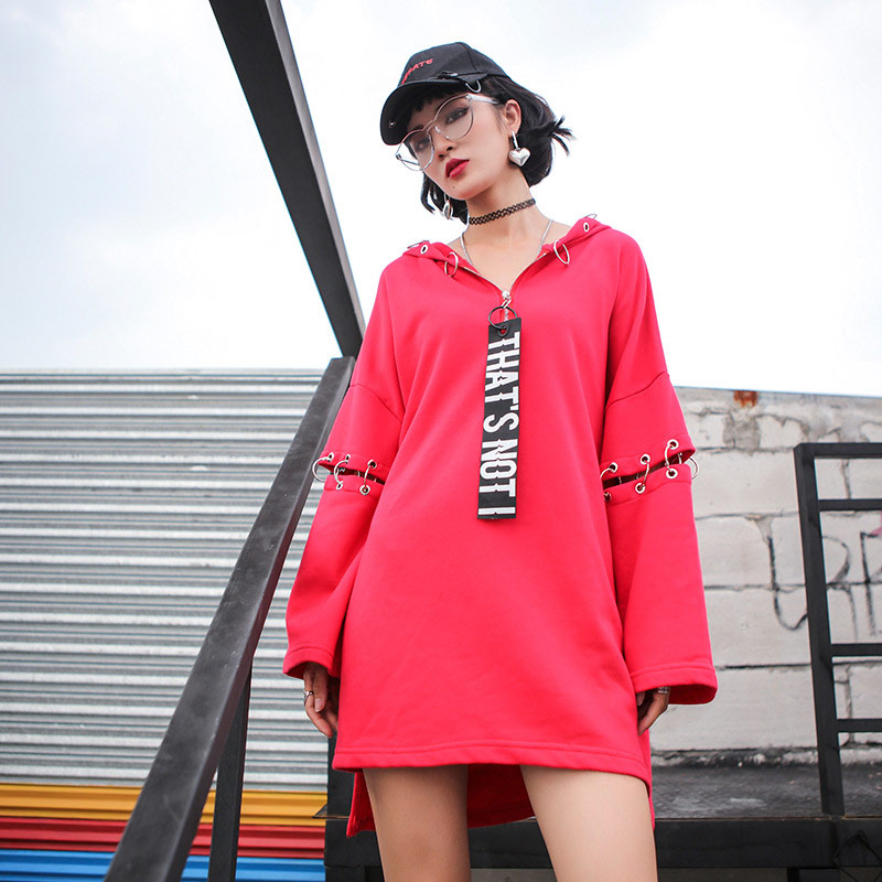 TREND Setter 2018 Autumn Hip Hop Style Red Sweatshirt Women Matel Ring Pullover Hooded Splicing Sleeve
