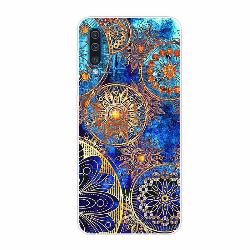 phone case 2019 2019 thin TPU case - Turquoise Bamboo Pattern Shock-absorbing and scratch-resistant cover for Samsung Galaxy A50 Casetastic Galaxy A50