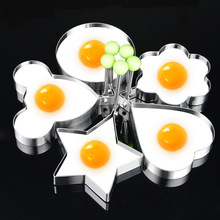 hot deal buy 5pcs omelette fried egg frying mold kitchen gadgets stainless steel egg tools flower round star molds kitchen tools