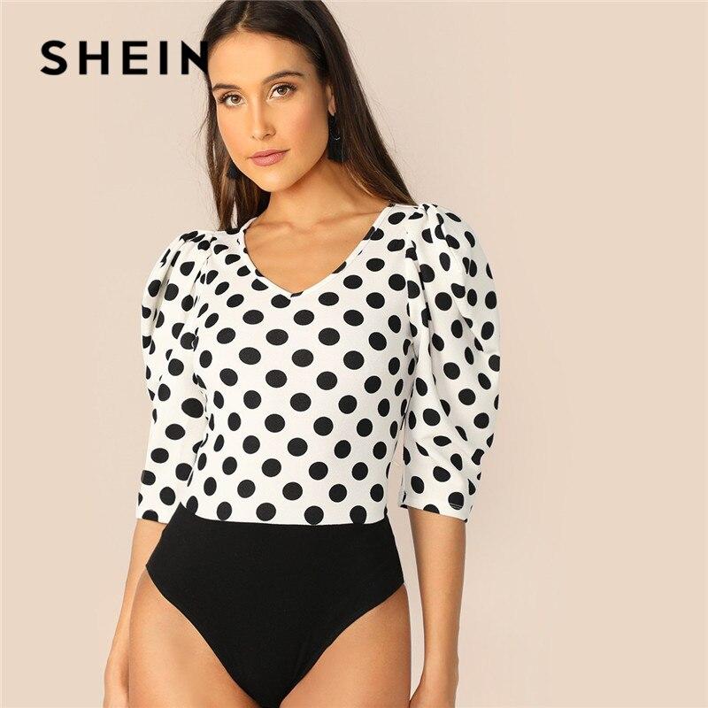 SHEIN Elegant Polka Dot Bodysuit 07190308376
