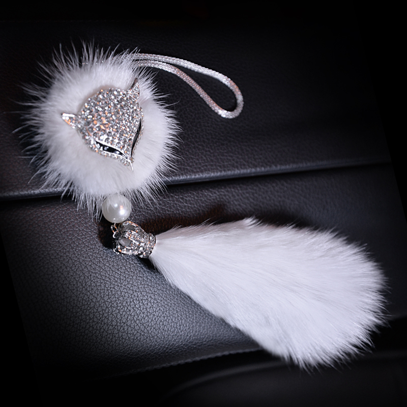 Fashion-Car-Decoration-Rearview-Mirror-Interior-Hanging-Pendant-Diamond-Crystal-Fox-fur-Ornaments-Car-Styling-6