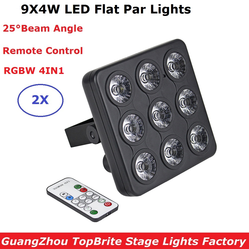 2017 Led Show Panel Flat LED Par Light 9X4W RGBW Quad Color Disco Lamp Stage Lights Luces Discoteca Laser Beam Projector Lumiere 6units 24x12w rgbw 4in1 aluminum led par can disco lamp stage lights luces discoteca laser beam luz de projector led par light