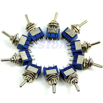 OOTDTY 10pcs/lot 3-Pin SPDT ON-ON  Mini Toggle Switch 6A 125VAC Mini Switches ...