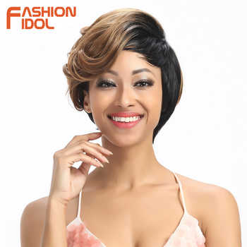 FASHION IDOL Short Wavy Synthetic Hair Wigs Ombre 10 Inch Bob Wigs For Black Women Heat Resistant Synthetic Wigs Free Shipping - Category 🛒 Hair Extensions & Wigs