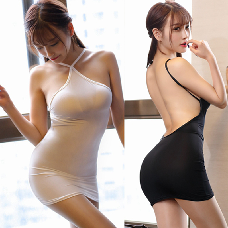 <font><b>Sexy</b></font> Women Ice Silk Smooth <font><b>Transparent</b></font> Stripe Halter Backless MINI <font><b>Dress</b></font> See Through Low Cut <font><b>Night</b></font> <font><b>club</b></font> Dance <font><b>Dress</b></font> FX18 image