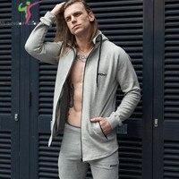 Autumn Winter Mens Zipper Hoodies Fashion Casual Gyms Fitness Bodybuilding Hooded Jacket Male Cotton Sweatshirts Sportswear
