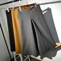 Korean winter loose elastic waist big size pure wool woolen retro wide leg pants ankle-length casual trousers