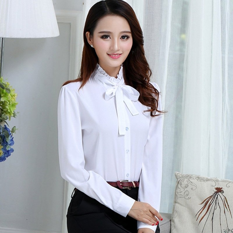 2019 Spring Summer Women's Office Lady Formal Party Lacing Long Sleeve Ruffled Neck Slim Blouse Casual Solid White Shirt Tops