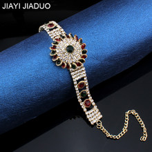 2018 Unique Charm Retro Cuff Bracelet For Women Gold Color Turkish Style Can Adjust Size Big Bracelet Party Jewelry Accessorie(China)