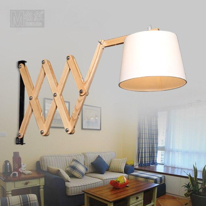 Actief Moderne Minimalistische Houten Wandlamp Gangpad Europese Telescopische Eetkamer Slaapkamer Swing Arm Wandlamp