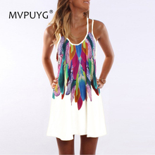 Casual Loose Summer Dress 2018 Sweet Women Rainbow Feather Floral Printed Sling Sexy Bohemia Style Beach Short S-5XL