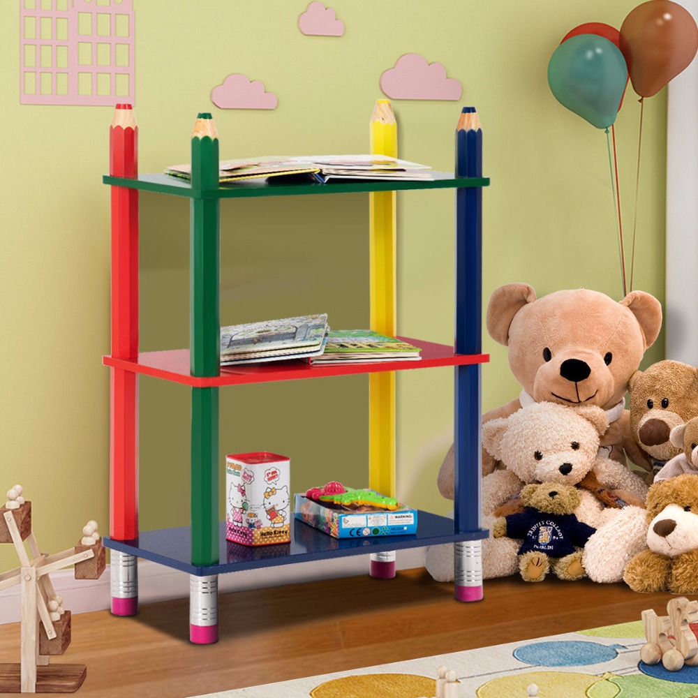 Giantex 3 Tiers Kids Bookshelf Crayon Themed Shelves Storage Bookcase Toddler Colorful Home Furniture HW58652