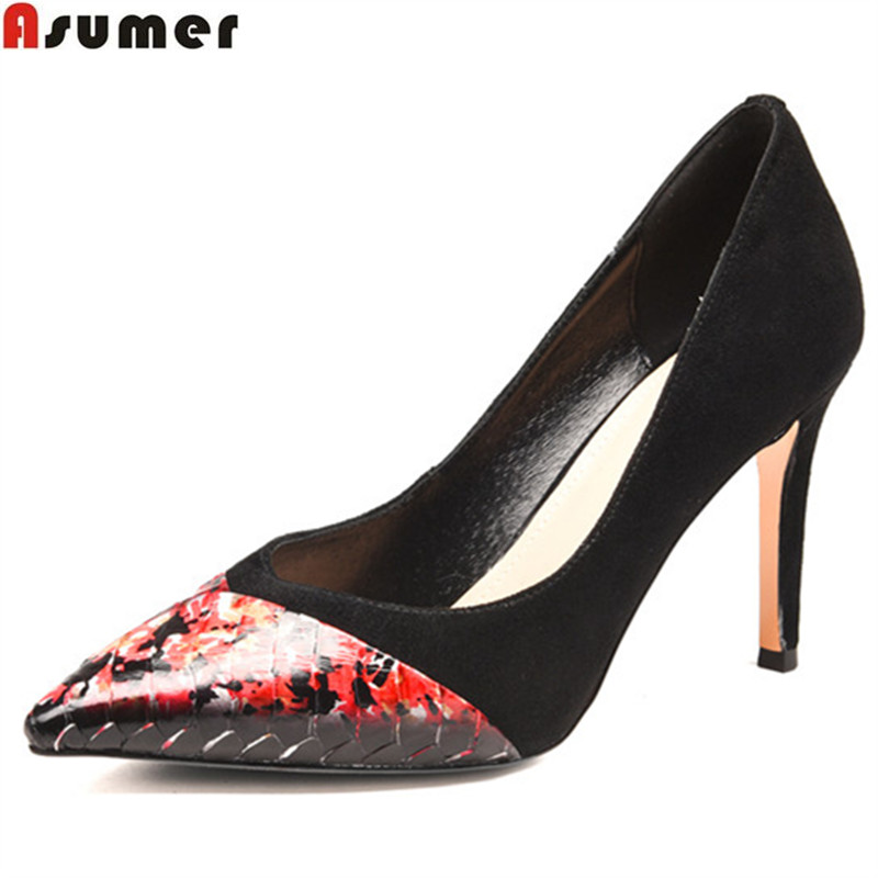 ASUMER spring autumn new arrival pointed toe shoes woman shallow wedding shoes pumps women shoes kid suede high heels shoes keaiqianjin woman wedges shoes shallow pointed toe red wedding pumps spring autumn genuine leather ultra high heels shoes 2018