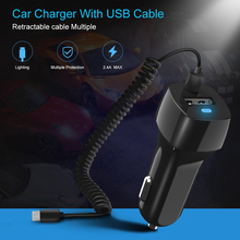 2.4A Spring Line Car Charger FAST Rapid Type Micro USB Charging LED Indicator Cigarette Lighter