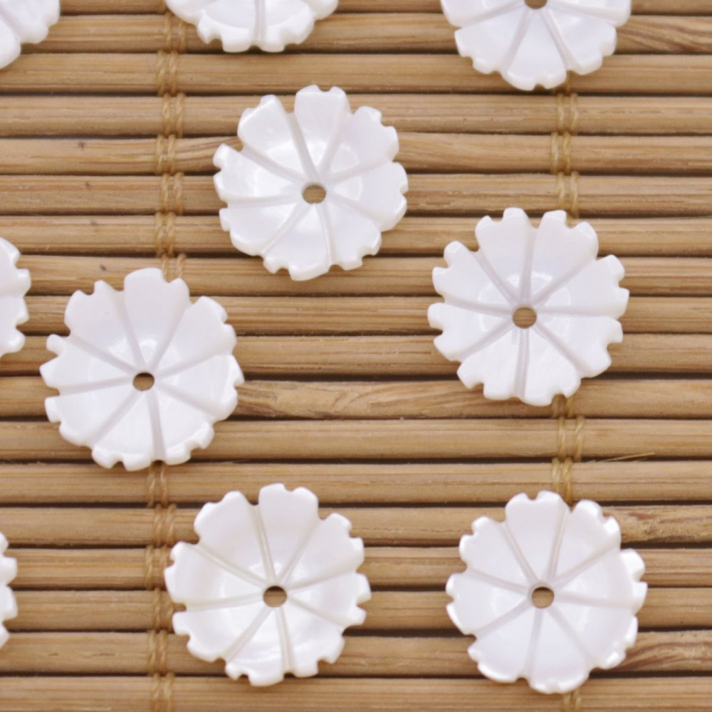 Купить с кэшбэком 10 PCS 11mm Flower Shell Natural White Mother of Pearl Jewelry Making DIY