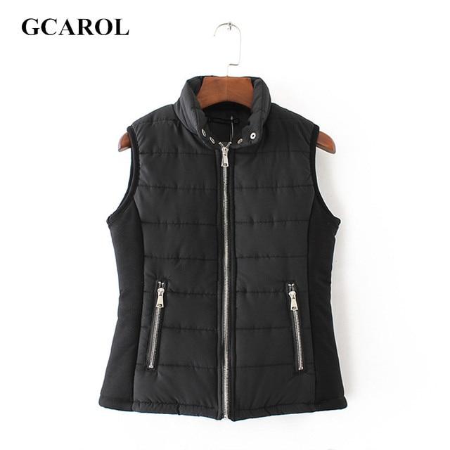 GCAROL Women Euro Style Standard Collar Cotton Vest High Quality Zip UP Casual Basic Waistcoat For Autumn Winter Vest