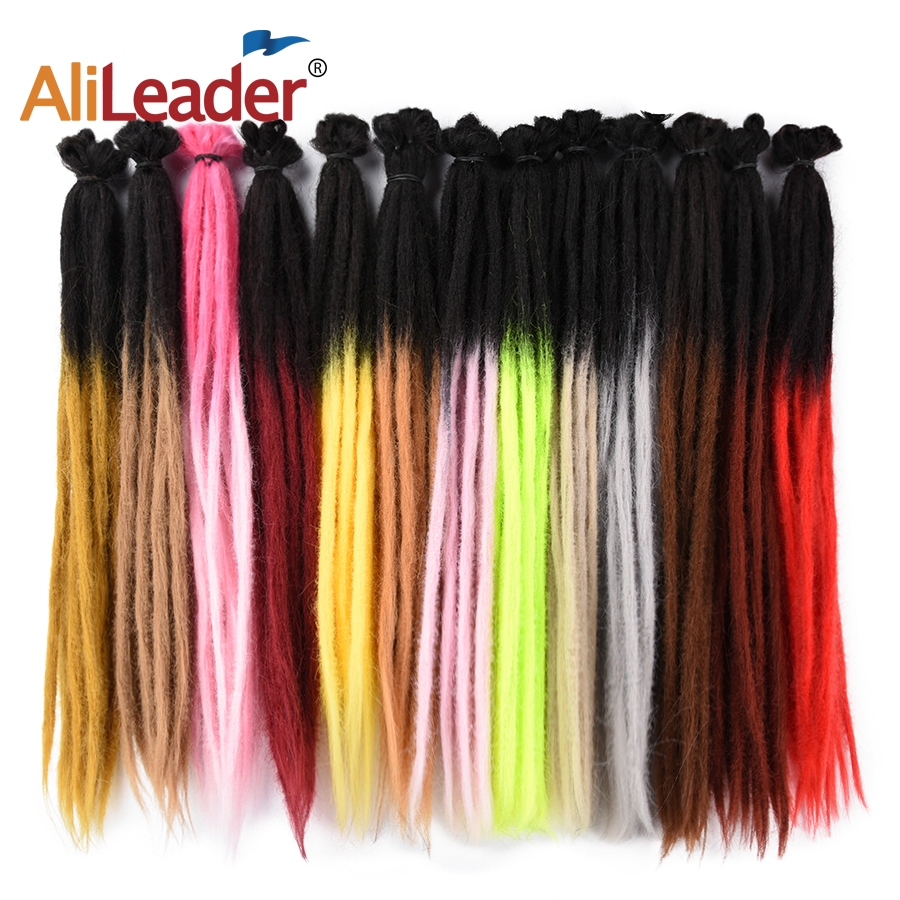 AliLeader 20inch Synthetic Women And Mens Handmade Dreadlocks Pink Blue Ombre Straight Crochet Braiding Hair Extensions 1root