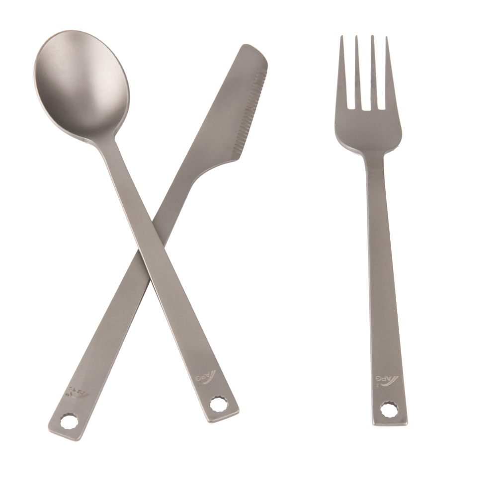 Portable 3 pcs Titanium Cutlery Knife Fork Spoon Camping Picnic Lightweight 49g Cookware Kit|titanium cutlery|fork spoon|knife fork spoon camping - title=