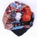Nueva Moda Colorida Dot Print Bufanda Infinito Anillo De Flores de Moda Geométrica Chal Encanto Mujeres Bucle Galón Bufandas de Invierno