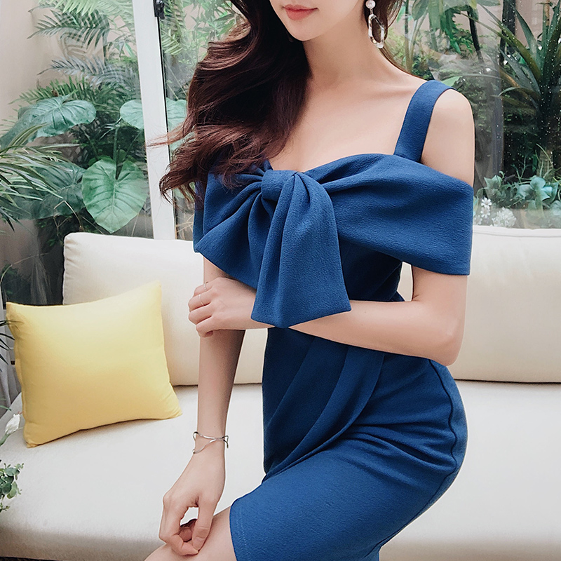 Dabuwawa Women s Sexy Elegant Solid Color Shoulder Strap Party Dress 2019 New Summer Fashion Asymmetry