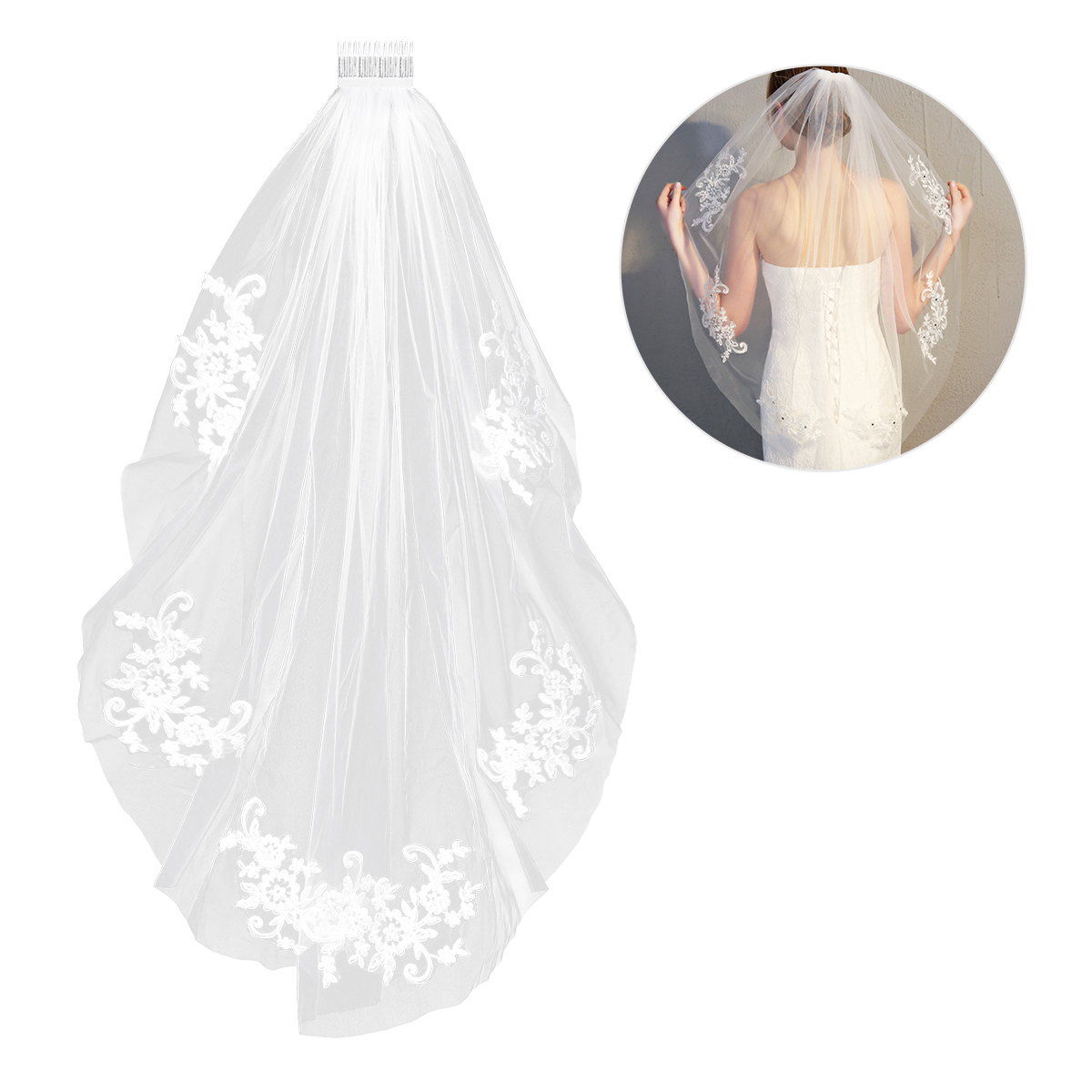 Bridal Veils Elegant Rhinestone Lace Veil Wedding Veil Hair Accessory Hearwear Heardress For Baptism Wedding Communion