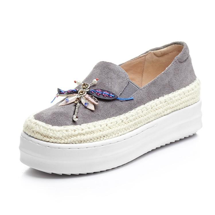 Big Size Women Platform Loafers Crystal Genuine Leather High Quality Pointed Toe Flats Shoes For Women Slipony Women Rhinestone  (3)