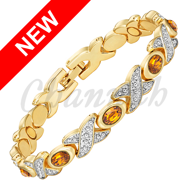 Channah 2017 Bracelet For Women 2 Tone Silver Gold Magnetic Orange Cateye Stones Bangle Ladies Jewelry