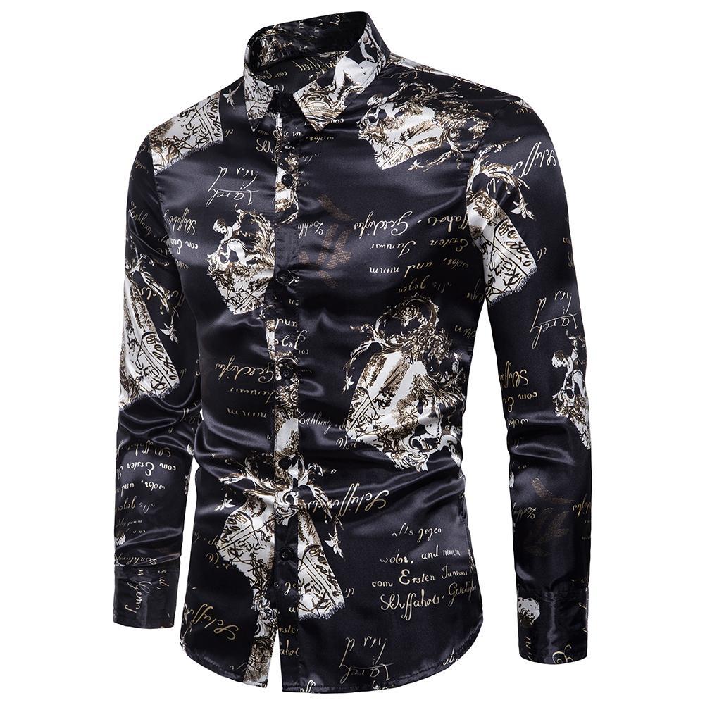 72eaf0beefd Men Dance Prom Silk Like Satin Slim Turn Down Collar Long Sleeve Buttons  Shirt new
