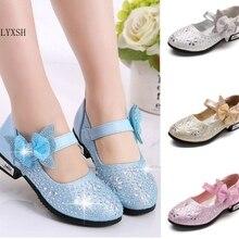 SLYXSH/Лидер продаж года; детская кожаная обувь принцессы для девочек; стразы с бантом-бабочкой; обувь на высоком каблуке для вечеринок; Танцевальная обувь для девочек