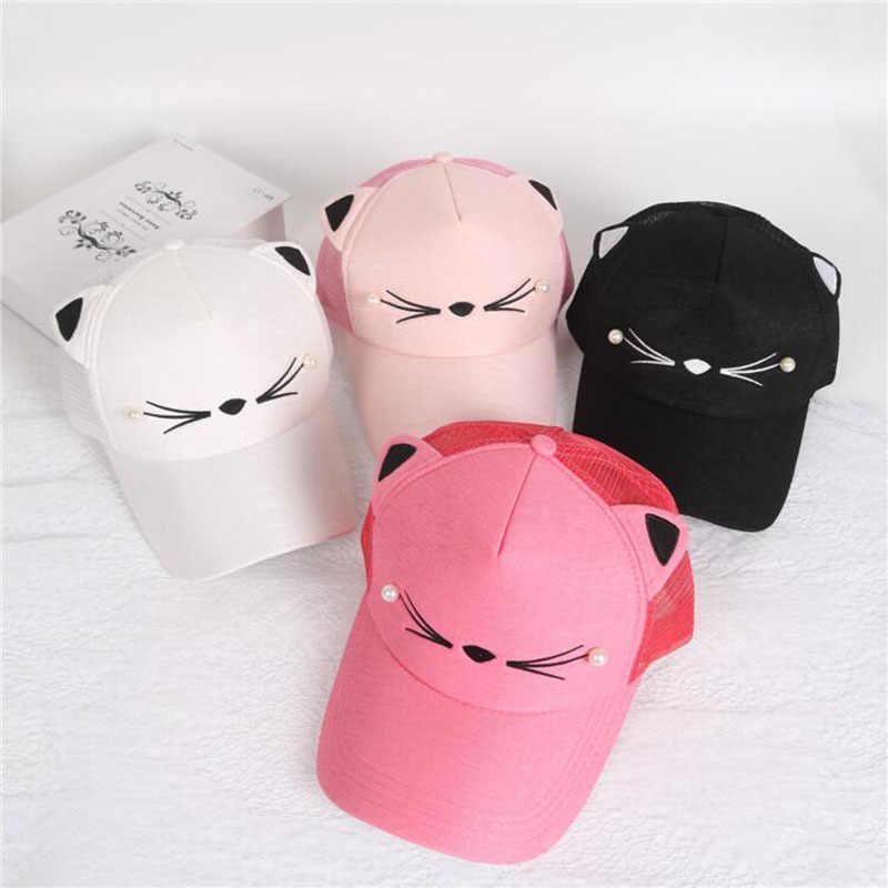 summer brand children net cap adjustable cute embroidered hat cat ears  snapback cap boy hip hop 5012245c94c